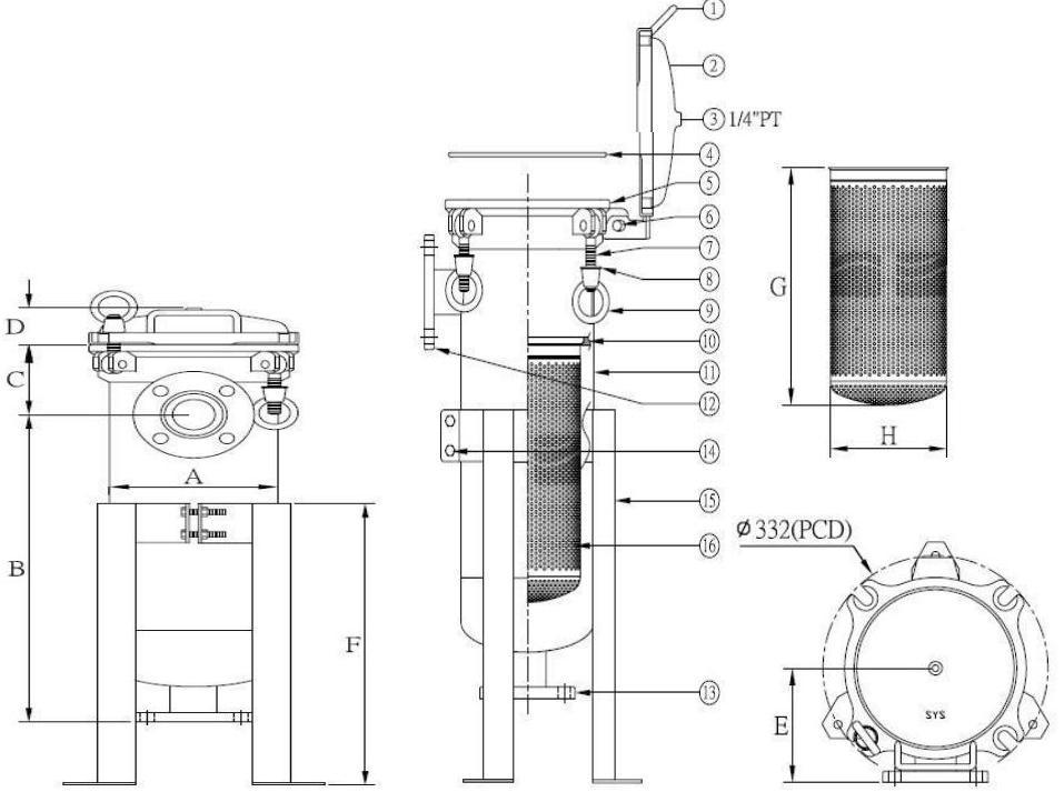 Габаритные размеры фильтра BFH2